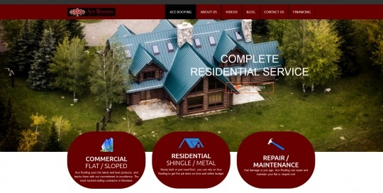 Photo of Ace Roofing Website